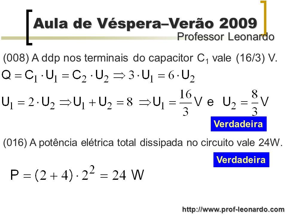 (008) A ddp nos terminais do capacitor C1 vale (16/3) V.