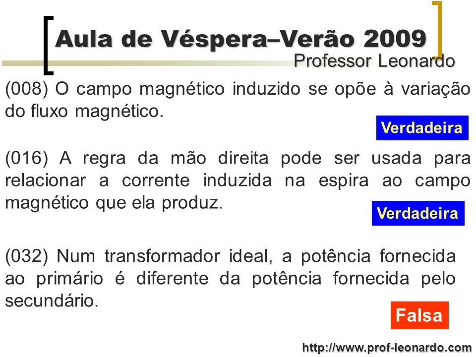 (008) O campo magnético induzido se opõe à variação do fluxo magnético.