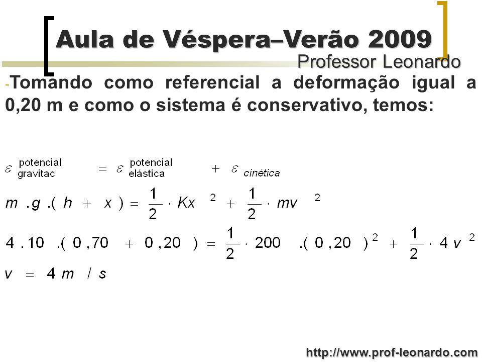 Tomando como referencial a deformação igual a 0,20 m e como o sistema é conservativo, temos: