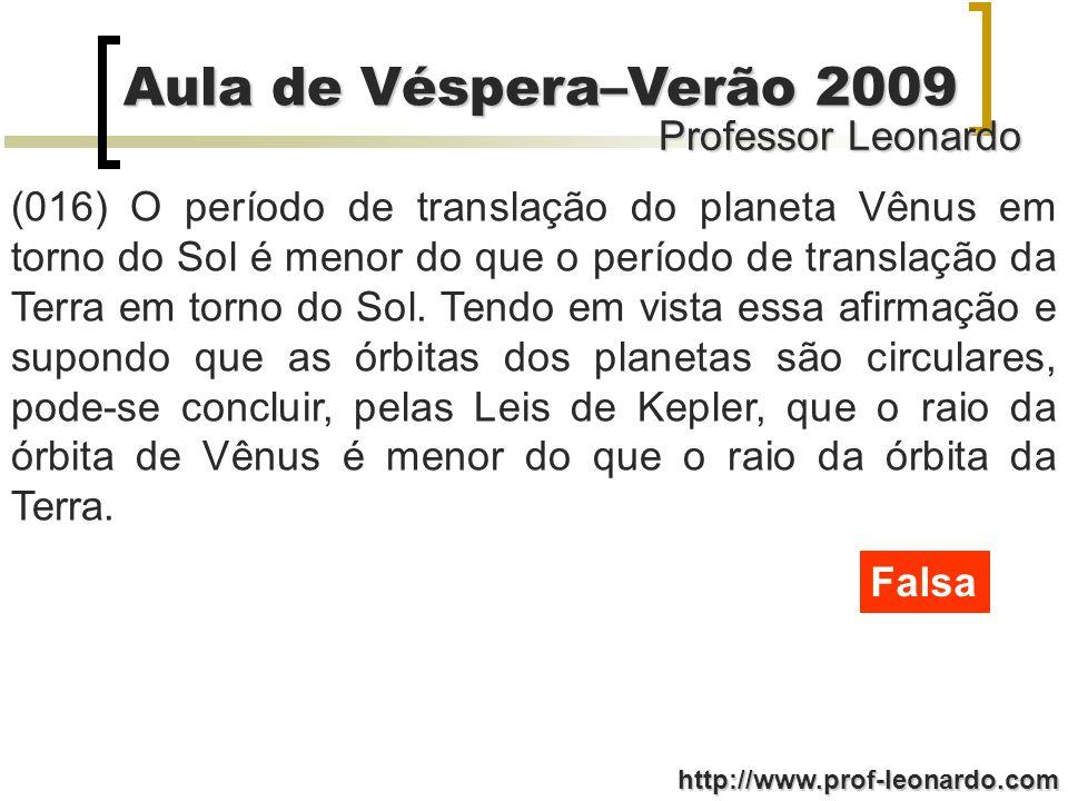 (016) O período de translação do planeta Vênus em torno do Sol é menor do que o período de translação da Terra em torno do Sol. Tendo em vista essa afirmação e supondo que as órbitas dos planetas são circulares, pode-se concluir, pelas Leis de Kepler, que o raio da órbita de Vênus é menor do que o raio da órbita da Terra.