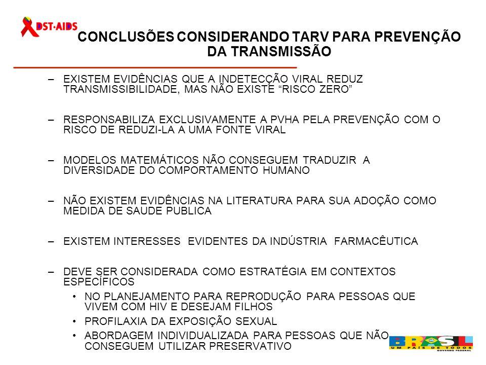 CONCLUSÕES CONSIDERANDO TARV PARA PREVENÇÃO DA TRANSMISSÃO