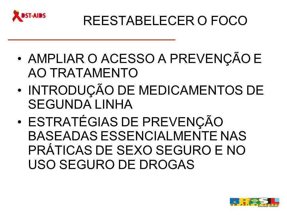 REESTABELECER O FOCO AMPLIAR O ACESSO A PREVENÇÃO E AO TRATAMENTO. INTRODUÇÃO DE MEDICAMENTOS DE SEGUNDA LINHA.