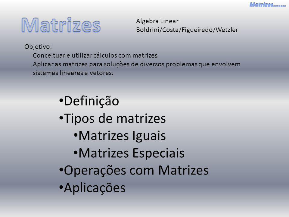 Matrizes Definição Tipos de matrizes Matrizes Iguais