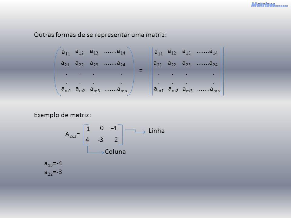 Outras formas de se representar uma matriz: