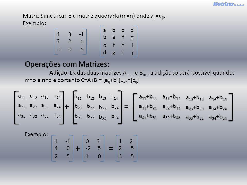 + = + = Operações com Matrizes: