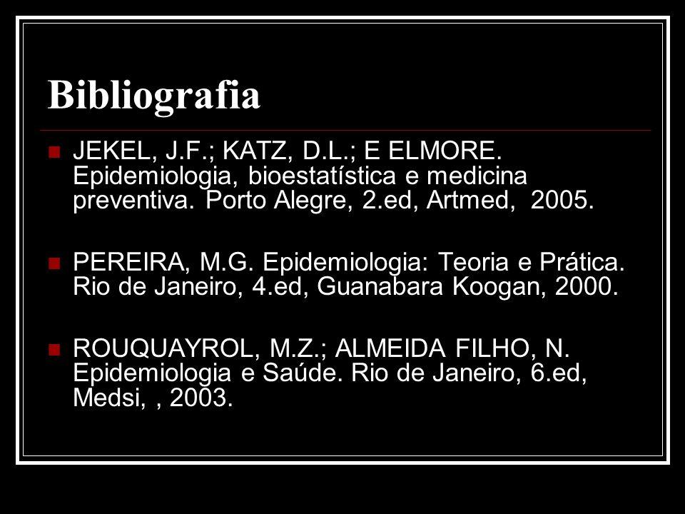 Bibliografia JEKEL, J.F.; KATZ, D.L.; E ELMORE. Epidemiologia, bioestatística e medicina preventiva. Porto Alegre, 2.ed, Artmed, 2005.