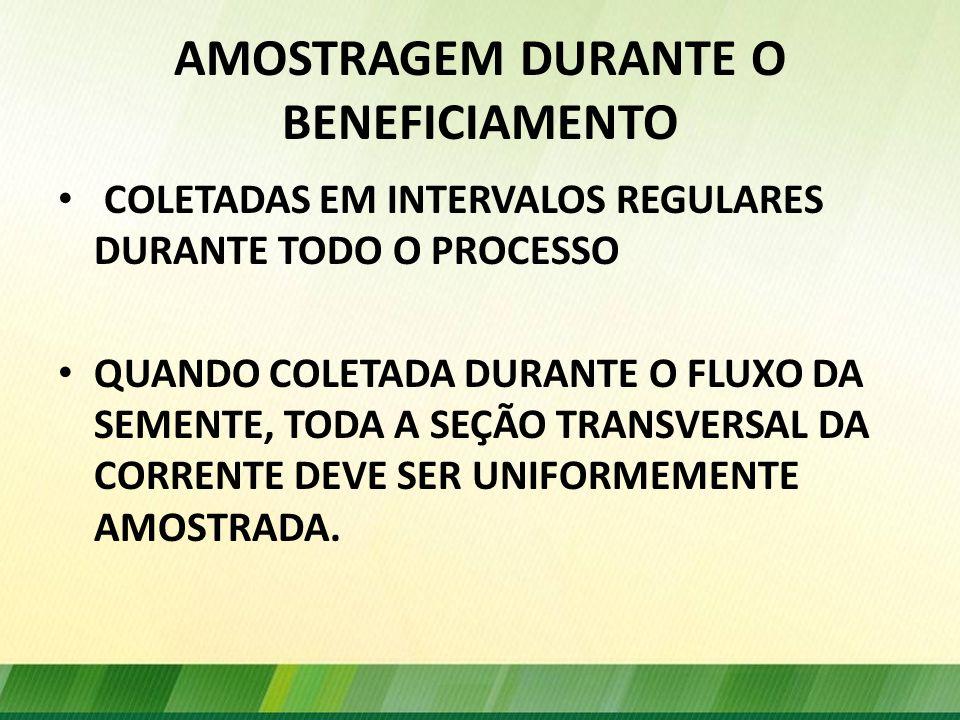 AMOSTRAGEM DURANTE O BENEFICIAMENTO
