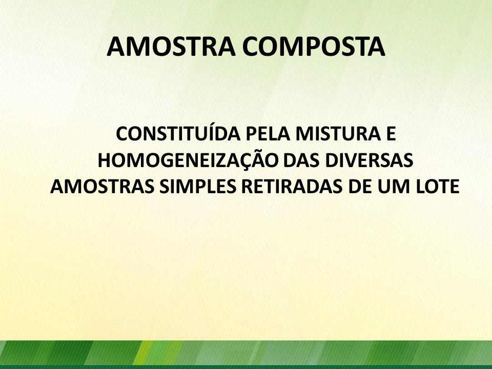 AMOSTRA COMPOSTA CONSTITUÍDA PELA MISTURA E HOMOGENEIZAÇÃO DAS DIVERSAS AMOSTRAS SIMPLES RETIRADAS DE UM LOTE.
