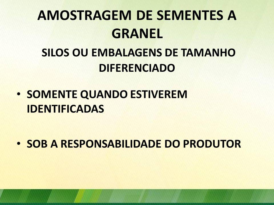 AMOSTRAGEM DE SEMENTES A GRANEL SILOS OU EMBALAGENS DE TAMANHO DIFERENCIADO