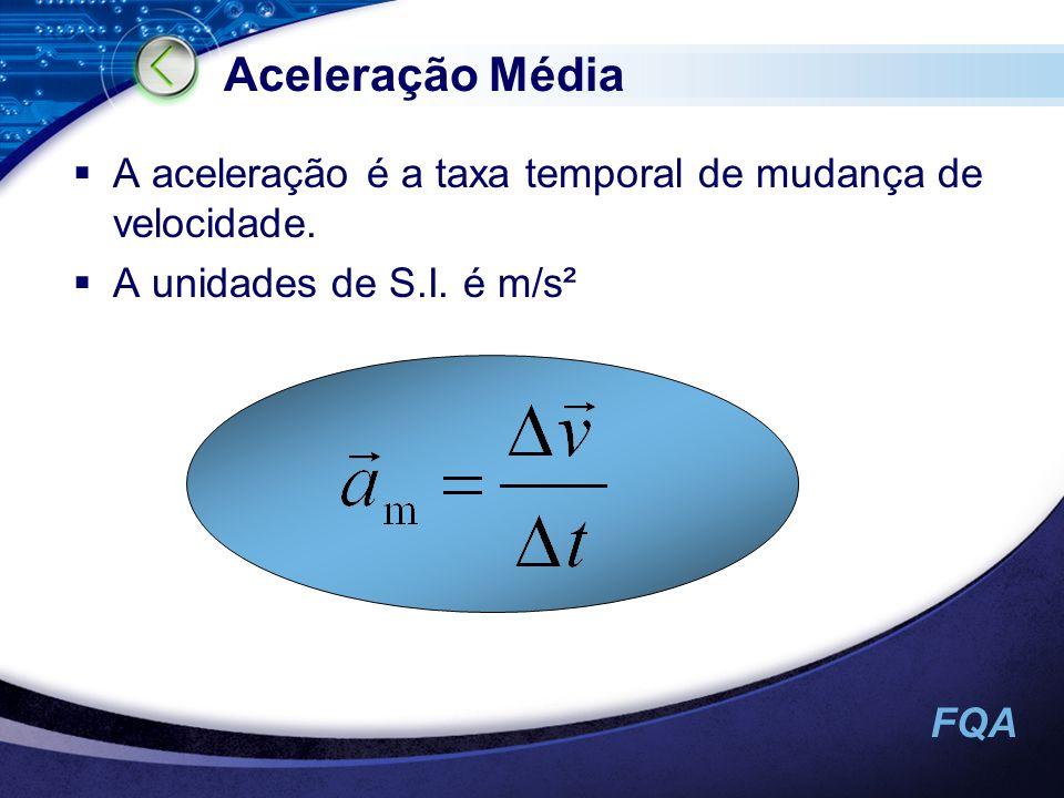 Aceleração Média A aceleração é a taxa temporal de mudança de velocidade. A unidades de S.I. é m/s²