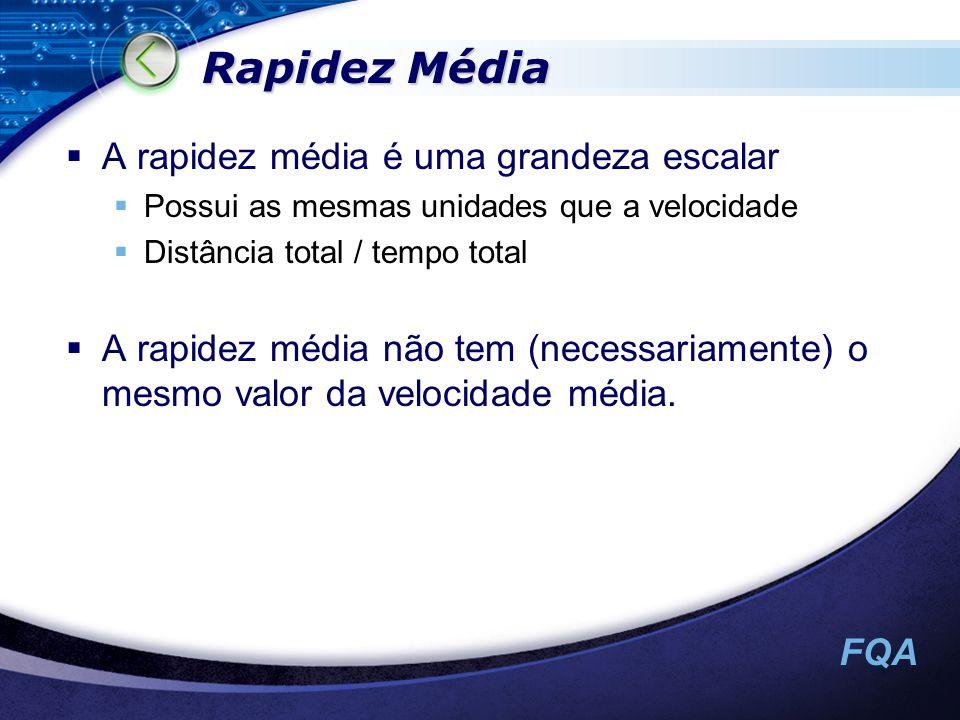 Rapidez Média A rapidez média é uma grandeza escalar