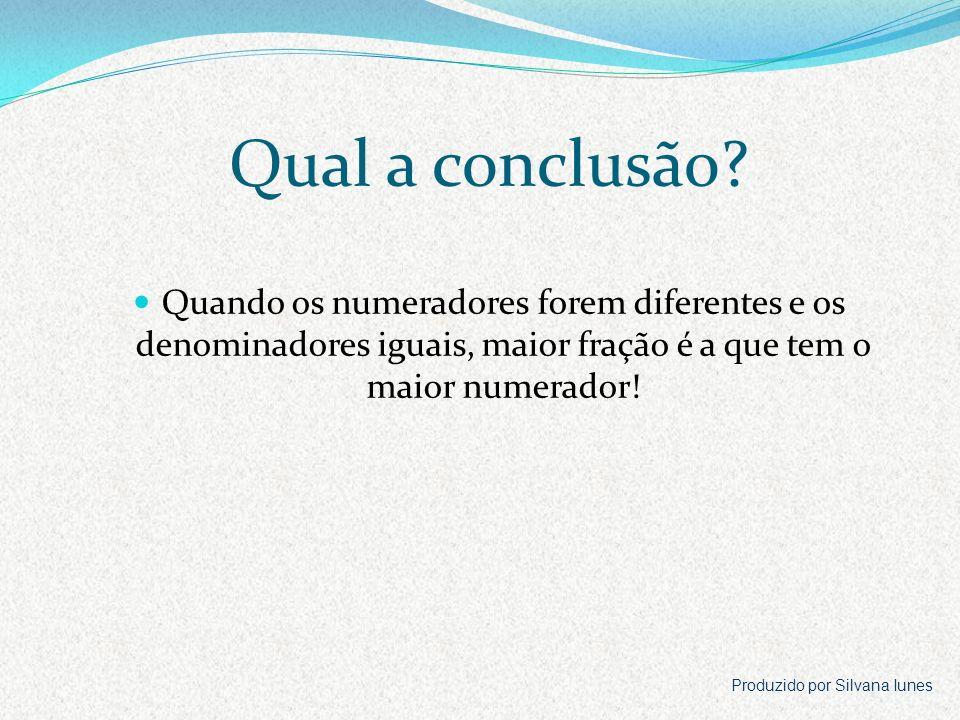 Qual a conclusão Quando os numeradores forem diferentes e os denominadores iguais, maior fração é a que tem o maior numerador!