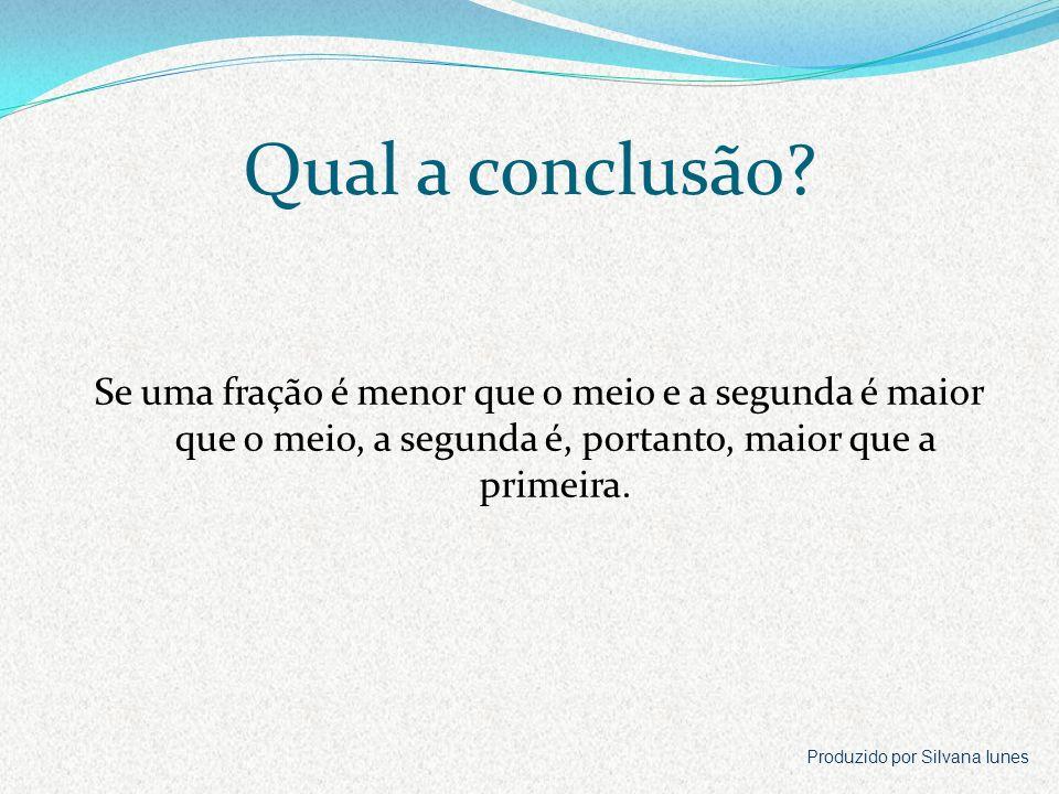 Qual a conclusão Se uma fração é menor que o meio e a segunda é maior que o meio, a segunda é, portanto, maior que a primeira.