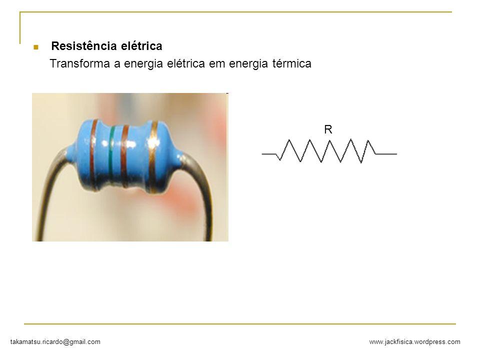 Resistência elétrica Transforma a energia elétrica em energia térmica R