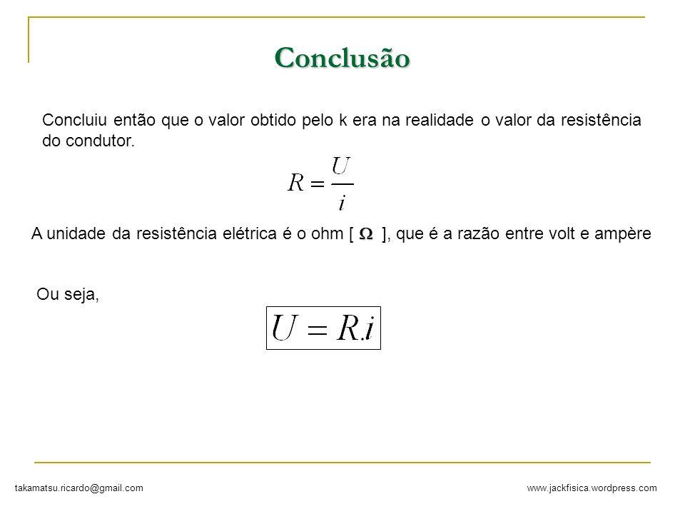 Conclusão Concluiu então que o valor obtido pelo k era na realidade o valor da resistência do condutor.