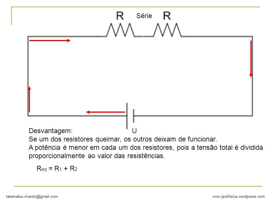 Série Desvantagem: Se um dos resistores queimar, os outros deixam de funcionar.