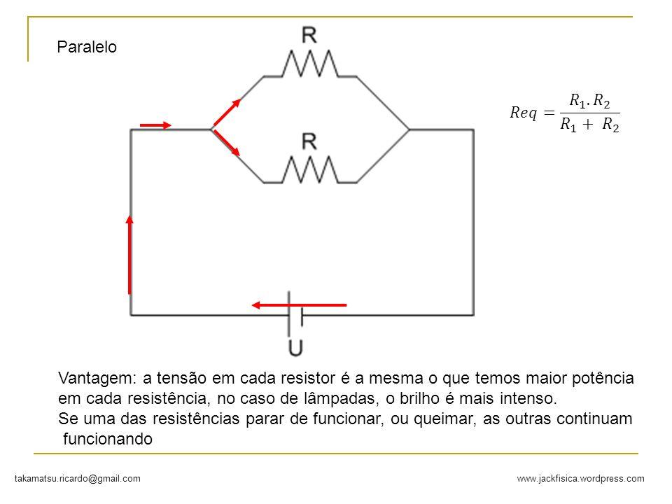 Paralelo 𝑅𝑒𝑞= 𝑅 1 . 𝑅 2 𝑅 1 + 𝑅 2. Vantagem: a tensão em cada resistor é a mesma o que temos maior potência.