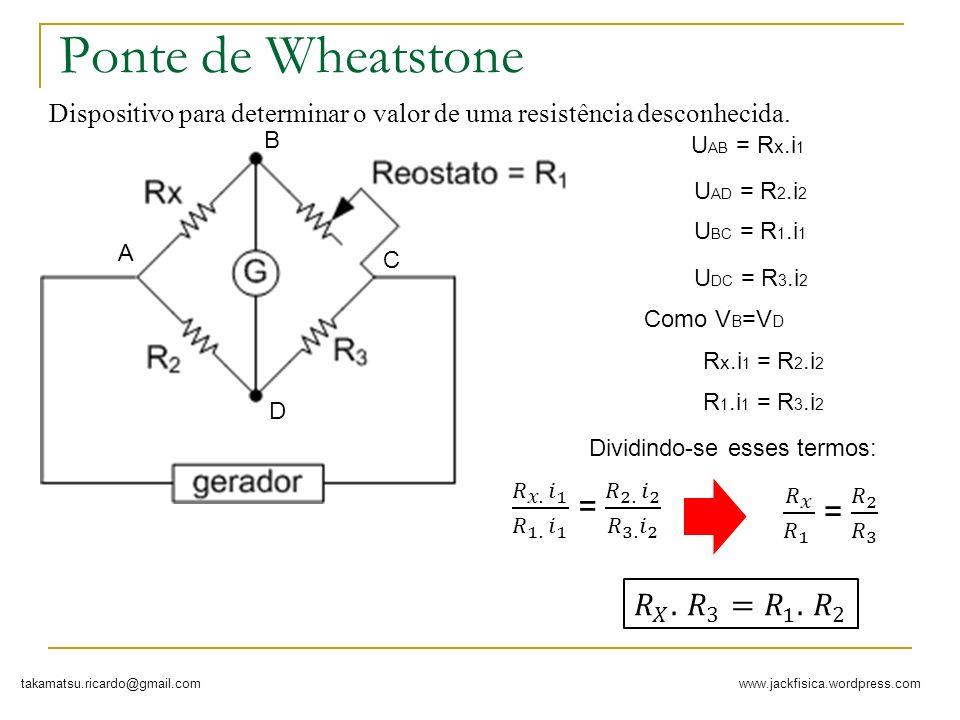 Ponte de Wheatstone 𝑅 𝑥. 𝑖 1 𝑅 1. 𝑖 1 = 𝑅 2. 𝑖 2 𝑅 3. 𝑖 2