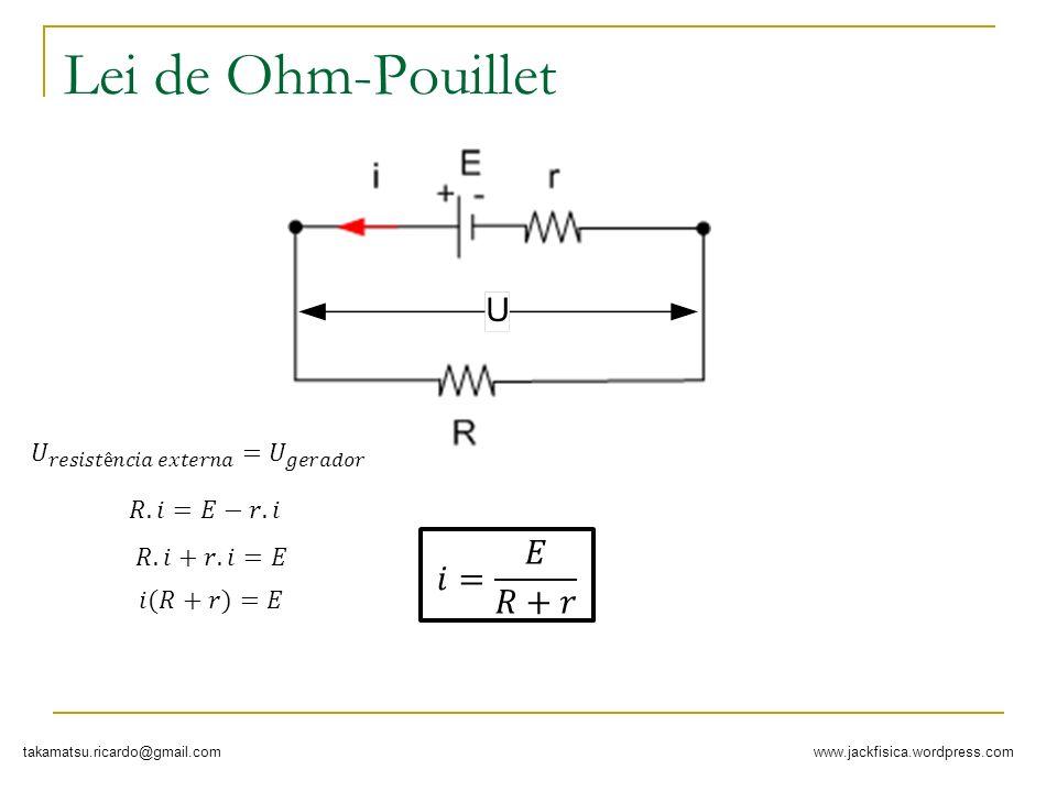 Lei de Ohm-Pouillet 𝑖= 𝐸 𝑅+𝑟 𝑈 𝑟𝑒𝑠𝑖𝑠𝑡ê𝑛𝑐𝑖𝑎 𝑒𝑥𝑡𝑒𝑟𝑛𝑎 = 𝑈 𝑔𝑒𝑟𝑎𝑑𝑜𝑟