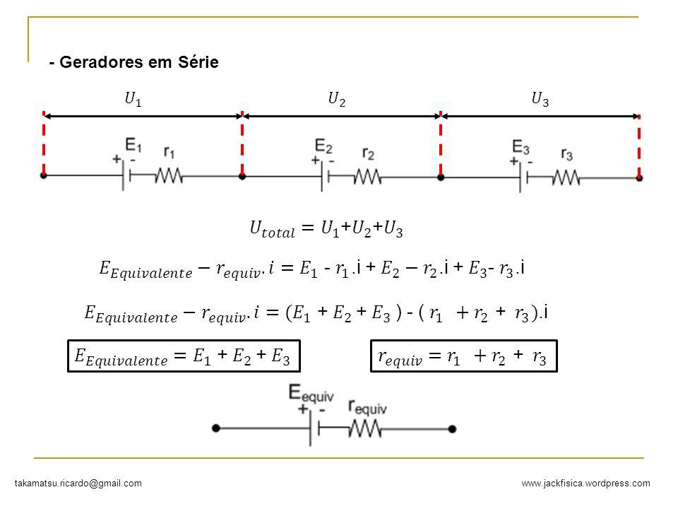 - Geradores em Série 𝑈 1. 𝑈 2. 𝑈 3. 𝑈 𝑡𝑜𝑡𝑎𝑙 = 𝑈 1 + 𝑈 2 + 𝑈 3. 𝐸 𝐸𝑞𝑢𝑖𝑣𝑎𝑙𝑒𝑛𝑡𝑒 − 𝑟 𝑒𝑞𝑢𝑖𝑣 . 𝑖= 𝐸 1 - 𝑟 1 .i + 𝐸 2 − 𝑟 2 .i + 𝐸 3 - 𝑟 3 .i.