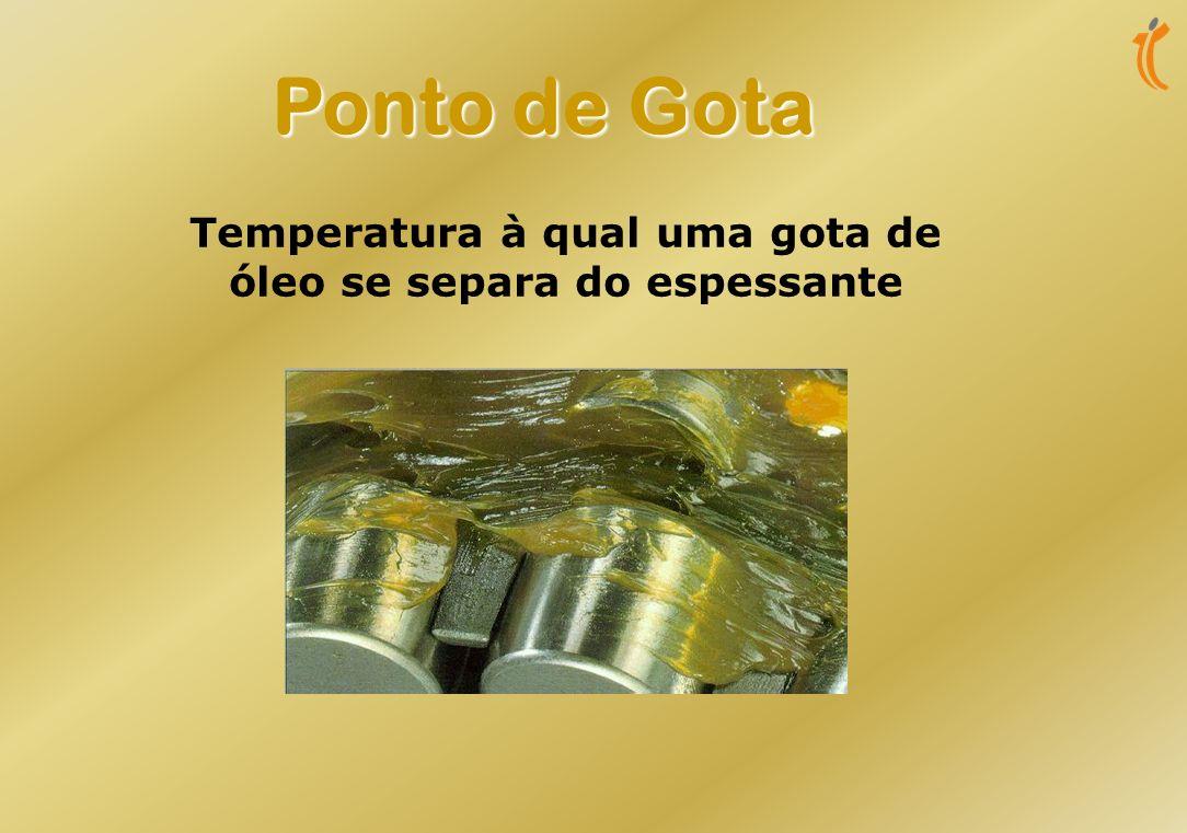 Temperatura à qual uma gota de óleo se separa do espessante