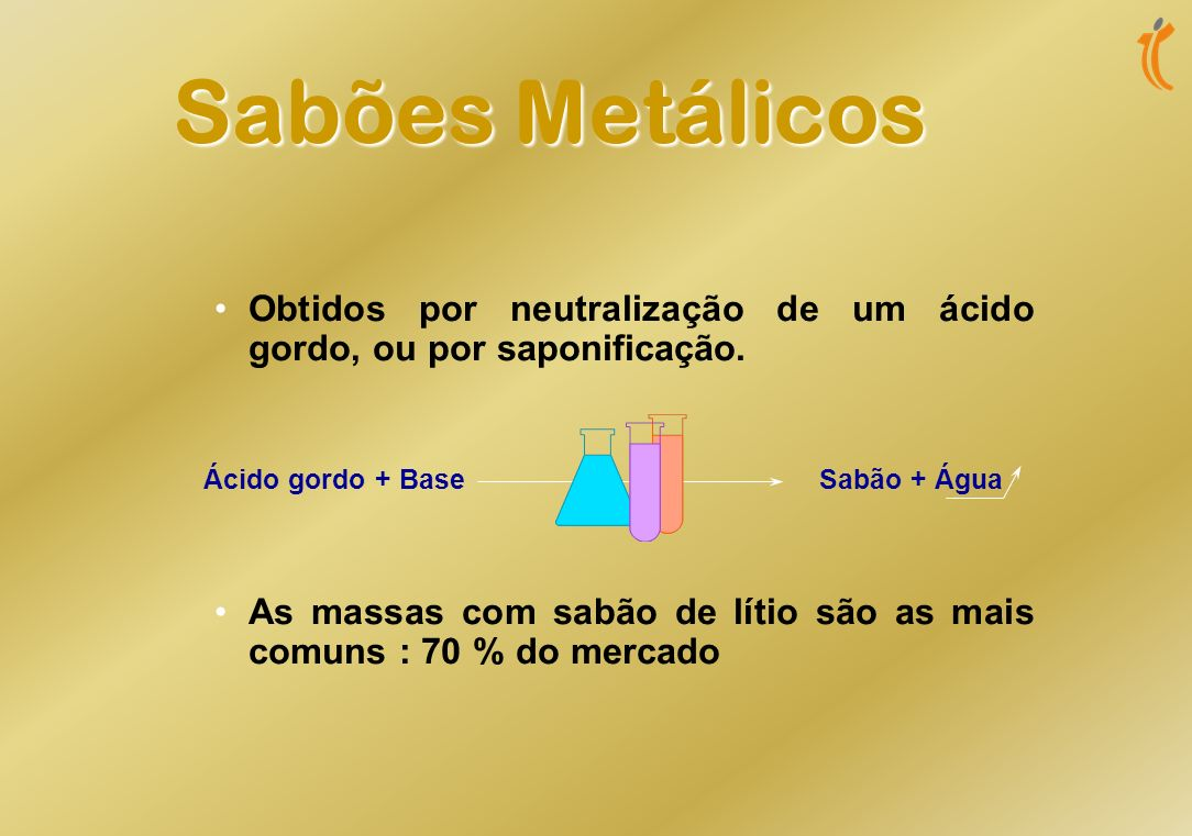 Sabões Metálicos Obtidos por neutralização de um ácido gordo, ou por saponificação.