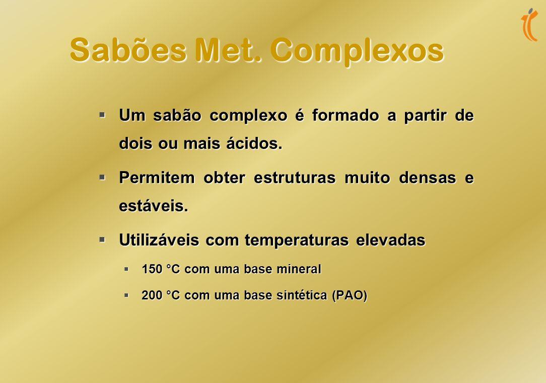Sabões Met. Complexos Um sabão complexo é formado a partir de dois ou mais ácidos. Permitem obter estruturas muito densas e estáveis.