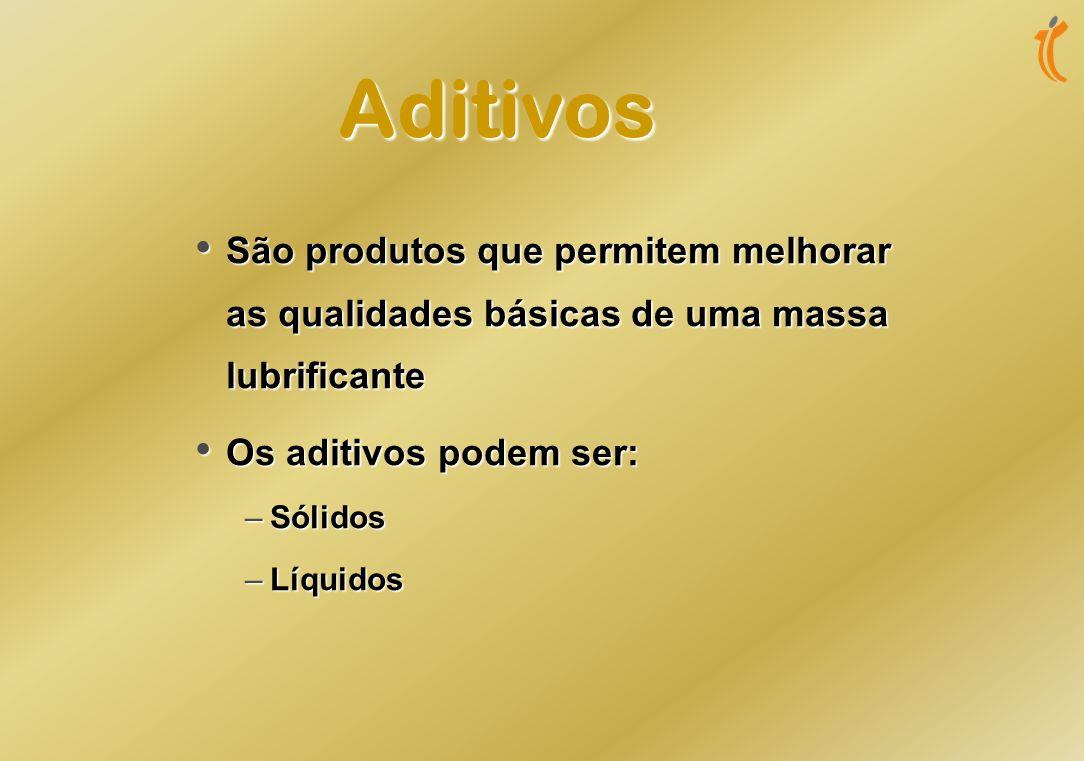 Aditivos São produtos que permitem melhorar as qualidades básicas de uma massa lubrificante. Os aditivos podem ser:
