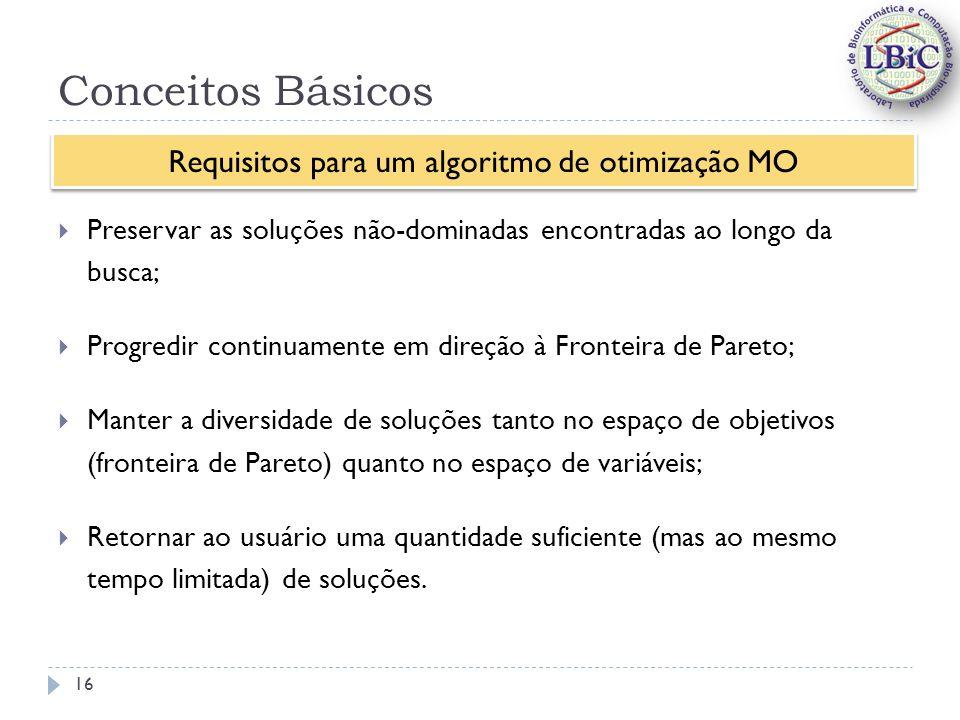 Requisitos para um algoritmo de otimização MO