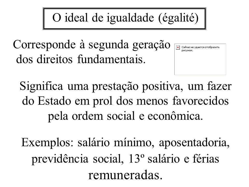 O ideal de igualdade (égalité)