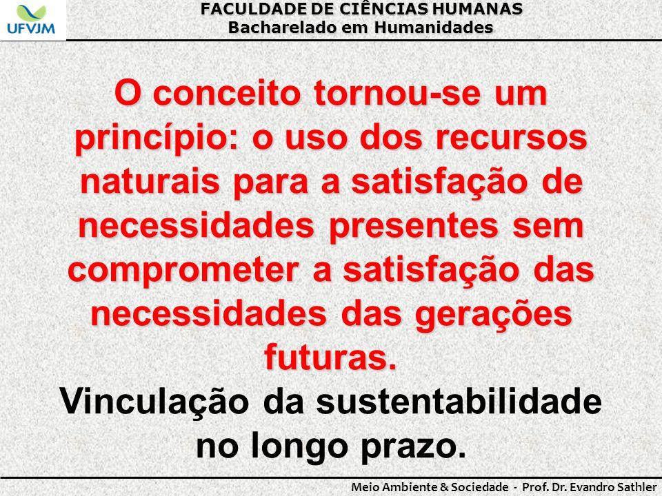 Vinculação da sustentabilidade no longo prazo.