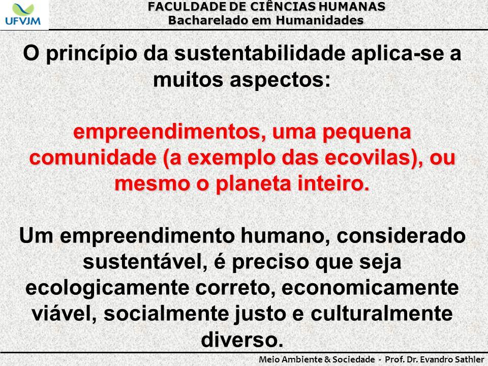 O princípio da sustentabilidade aplica-se a muitos aspectos: