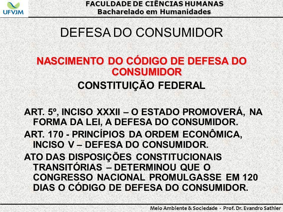 DEFESA DO CONSUMIDOR NASCIMENTO DO CÓDIGO DE DEFESA DO CONSUMIDOR
