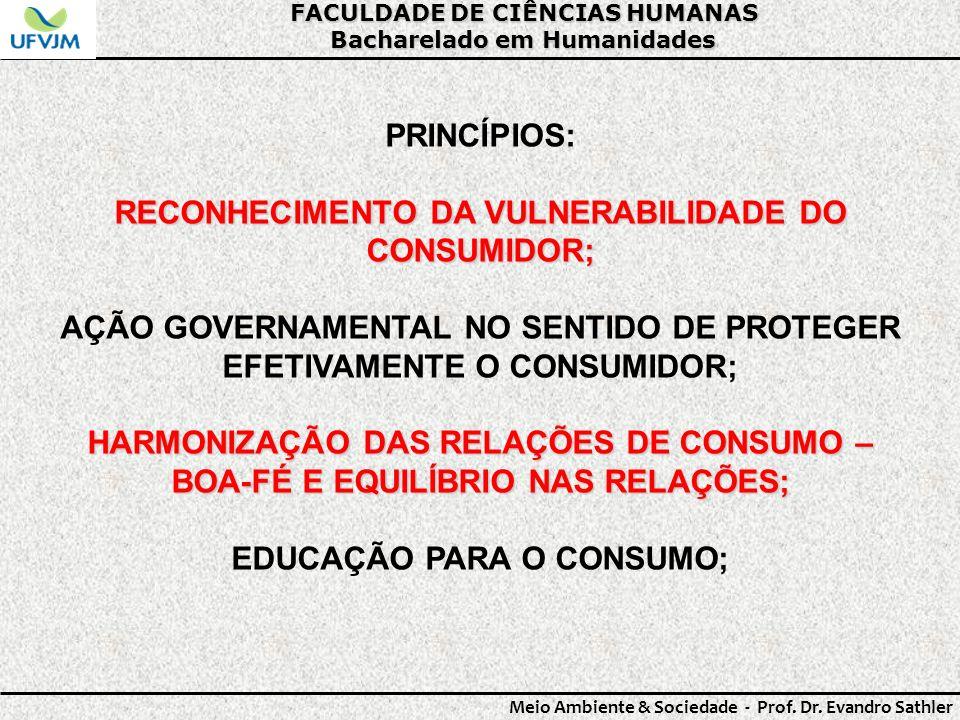 RECONHECIMENTO DA VULNERABILIDADE DO CONSUMIDOR;
