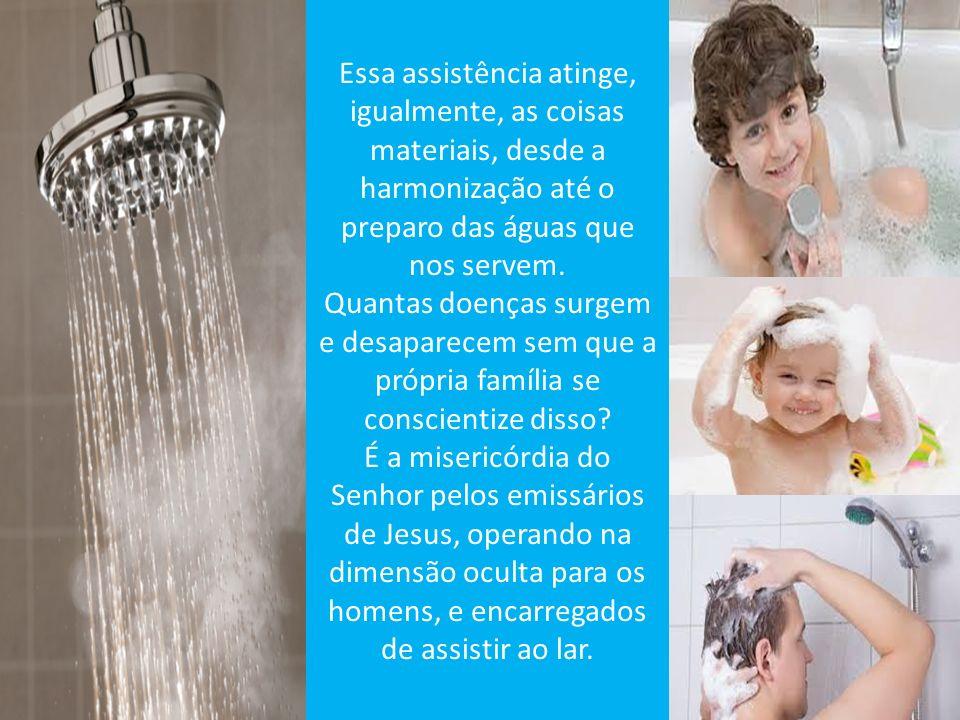 Essa assistência atinge, igualmente, as coisas materiais, desde a harmonização até o preparo das águas que nos servem.