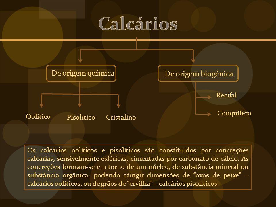 Calcários De origem química De origem biogénica Oolítico Pisolítico