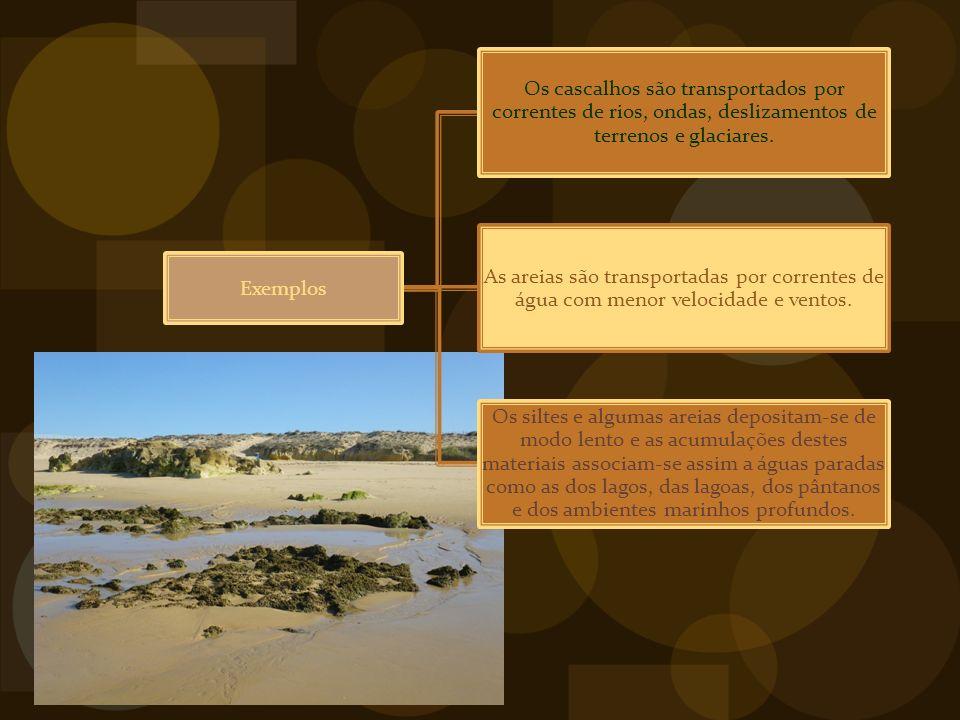 Exemplos Os cascalhos são transportados por correntes de rios, ondas, deslizamentos de terrenos e glaciares.
