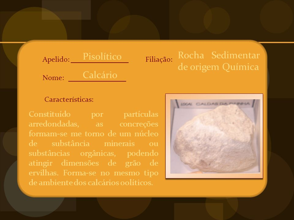Rocha Sedimentar de origem Química