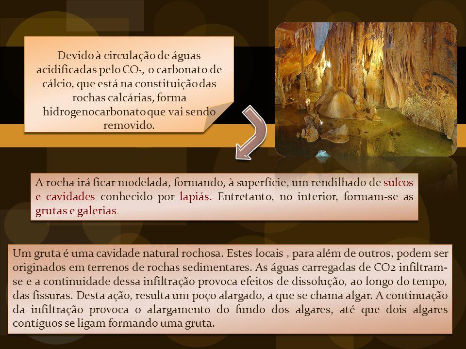 Devido à circulação de águas acidificadas pelo CO2, o carbonato de cálcio, que está na constituição das rochas calcárias, forma hidrogenocarbonato que vai sendo removido.