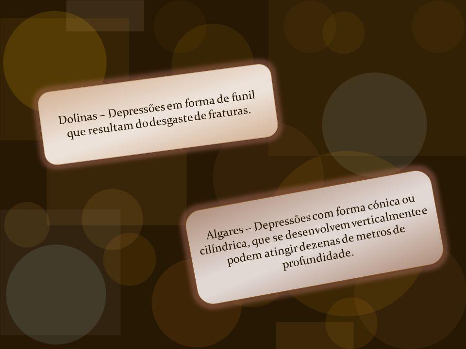 Dolinas – Depressões em forma de funil que resultam do desgaste de fraturas.