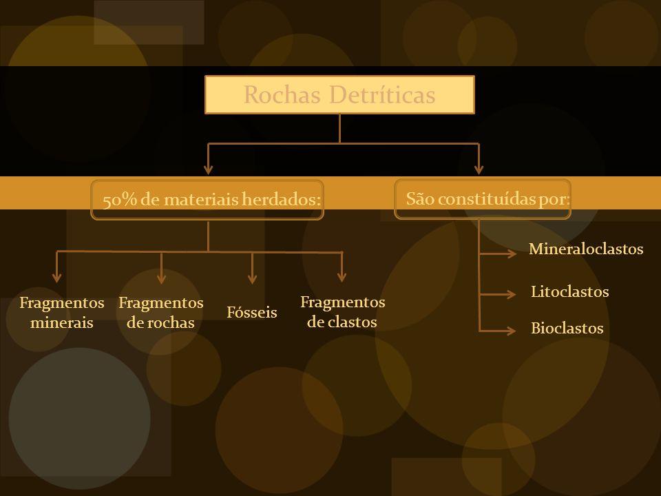 Rochas Detríticas 50% de materiais herdados: São constituídas por: