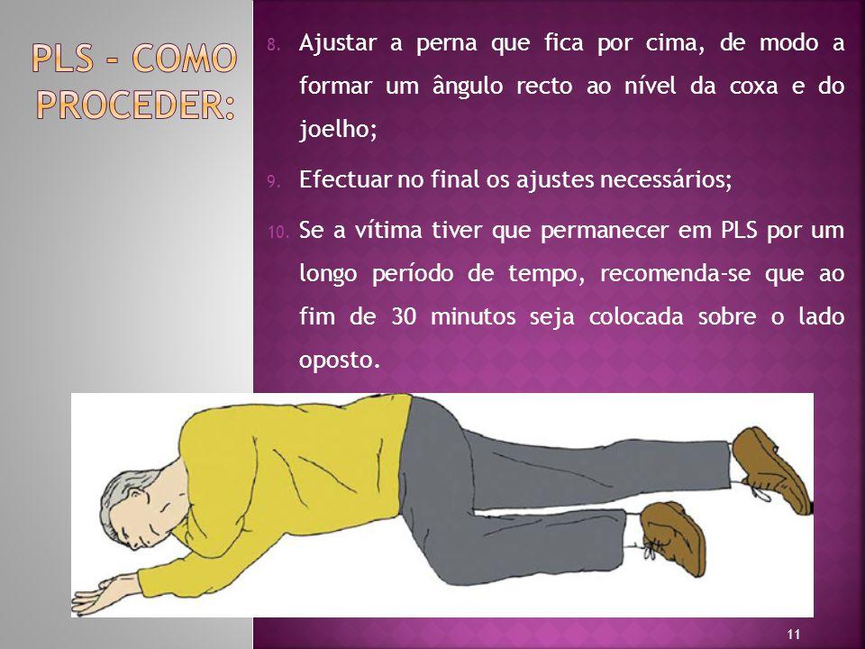 PLS - Como proceder: Ajustar a perna que fica por cima, de modo a formar um ângulo recto ao nível da coxa e do joelho;