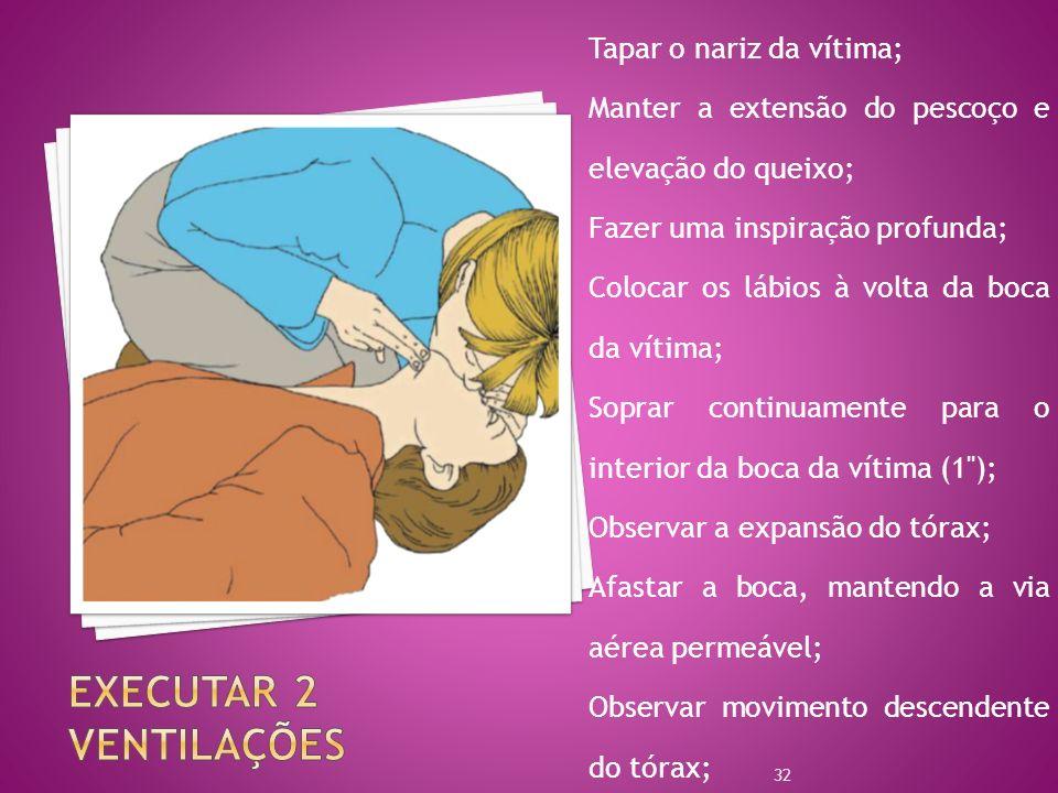 Executar 2 ventilações Tapar o nariz da vítima;