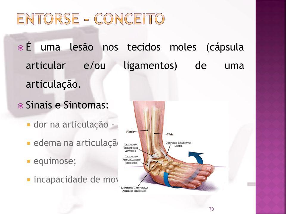 Entorse - Conceito É uma lesão nos tecidos moles (cápsula articular e/ou ligamentos) de uma articulação.