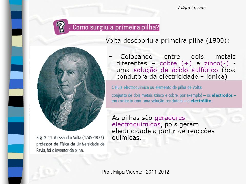 Volta descobriu a primeira pilha (1800):