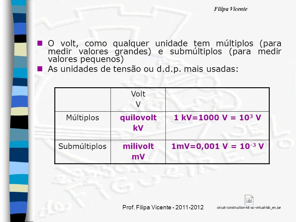 As unidades de tensão ou d.d.p. mais usadas: