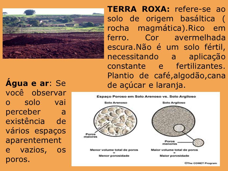 TERRA ROXA: refere-se ao solo de origem basáltica ( rocha magmática)