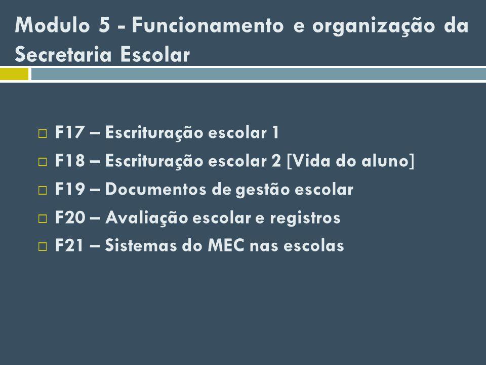 Modulo 5 - Funcionamento e organização da Secretaria Escolar