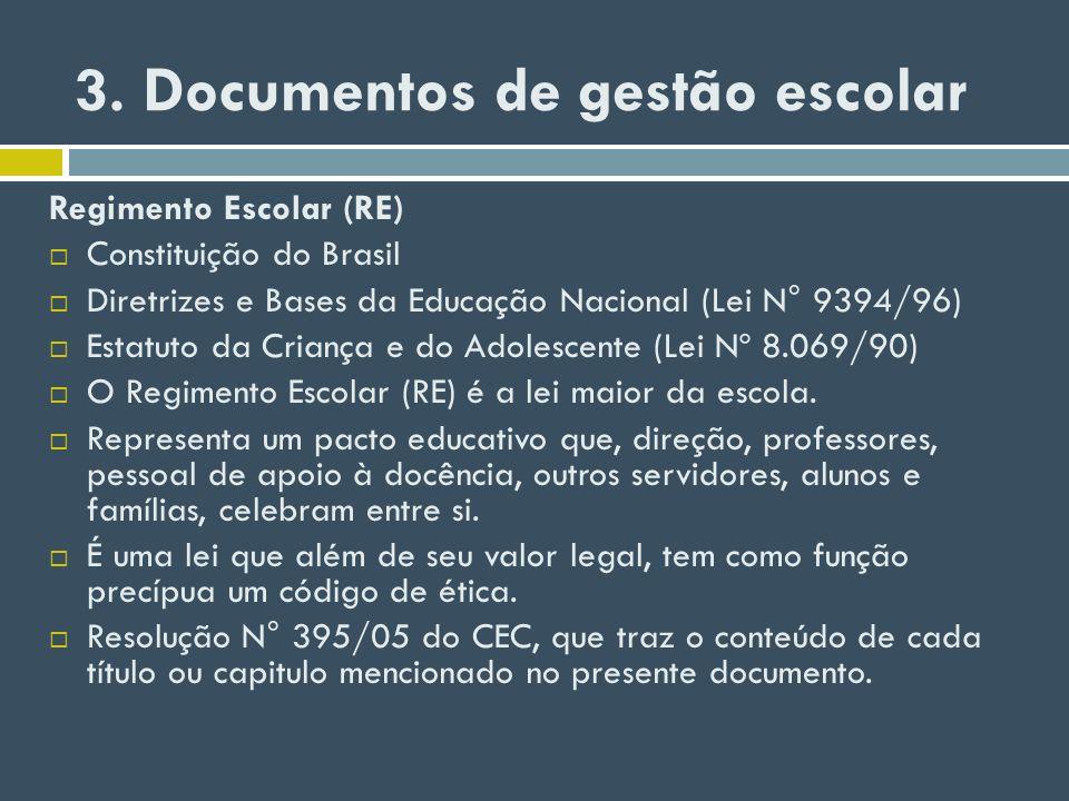 3. Documentos de gestão escolar