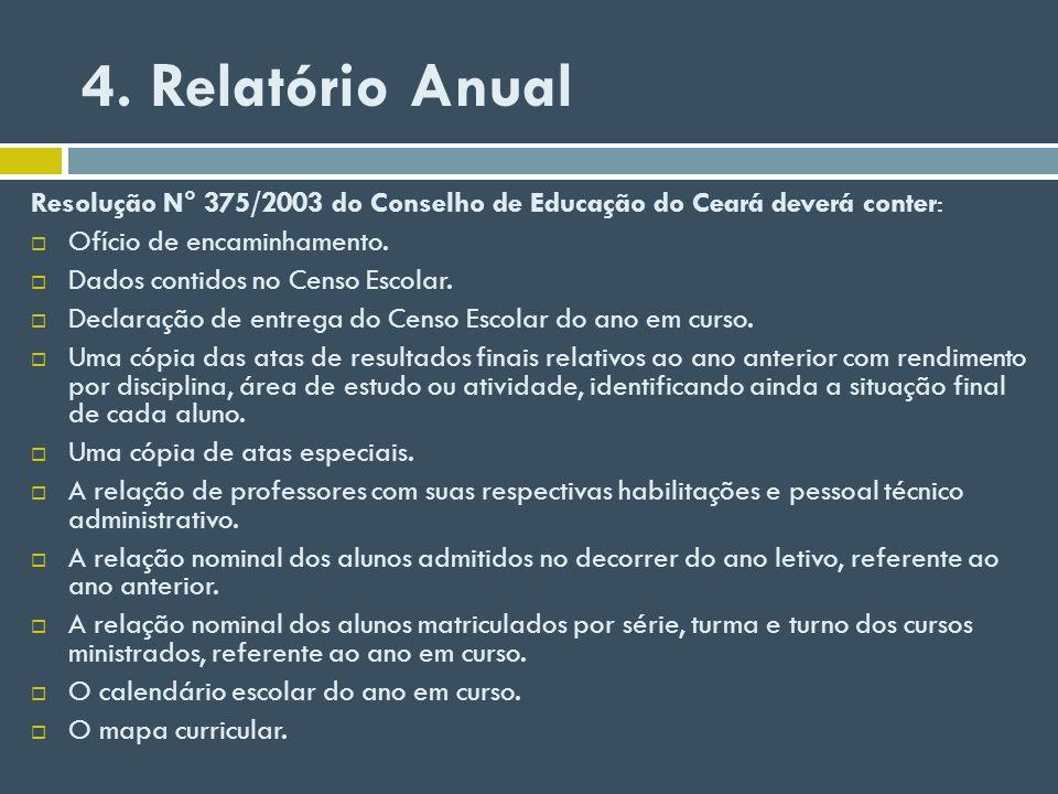 4. Relatório Anual Resolução N° 375/2003 do Conselho de Educação do Ceará deverá conter: Ofício de encaminhamento.